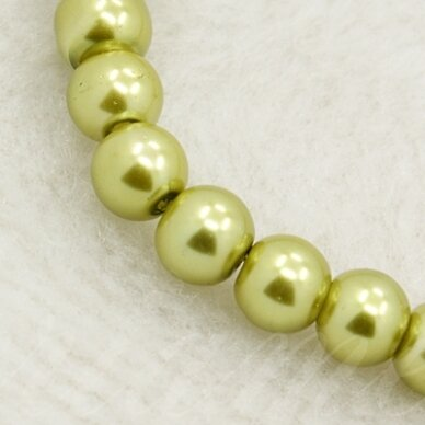 stperl0012-10 apie 10 mm, apvali forma, stiklinis perliukas, šviesi, samaninė spalva, 10 vnt.