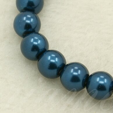 stperl0013-10 apie 10 mm, apvali forma, stiklinis perliukas, metalizuota, mėlyna spalva, apie 10 vnt.