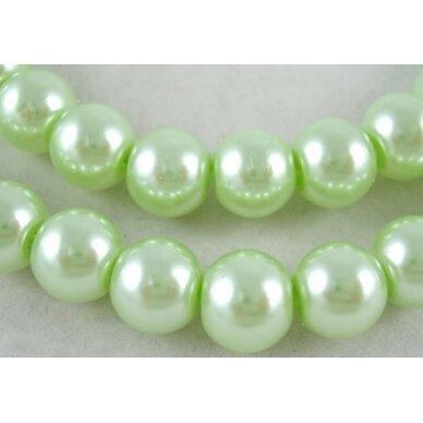 jsstperl0120-08 apie 8 mm, stiklinis perliukas, šviesi, žalia spalva, apie 100 vnt.
