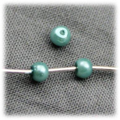 stperl0132-03 apie 3 mm, elektrinė spalva, stiklinis perliukas, apie 300 vnt.