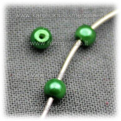 stperl0133-03 apie 3 mm, žalia spalva, stiklinis perliukas, apie 300 vnt.