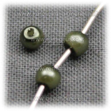 stperl0134-03 apie 3 mm, samaninė spalva, stiklinis perliukas, apie 300 vnt.