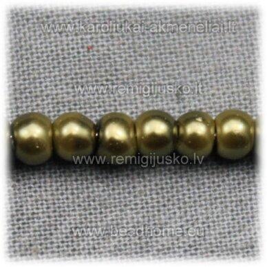 stperl0135-03 apie 3 mm, tamsi, samaninė spalva, stiklinis perliukas, apie 300 vnt.
