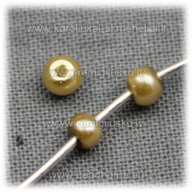 stperl0137-03 apie 3 mm, auksinė spalva, pilkas atspalvis, stiklinis perliukas, apie 300 vnt.