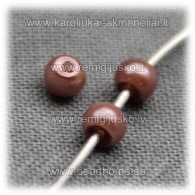 stperl0153-03 apie 3 mm, pilkai bordo spalva, stiklinis perliukas, apie 300 vnt.