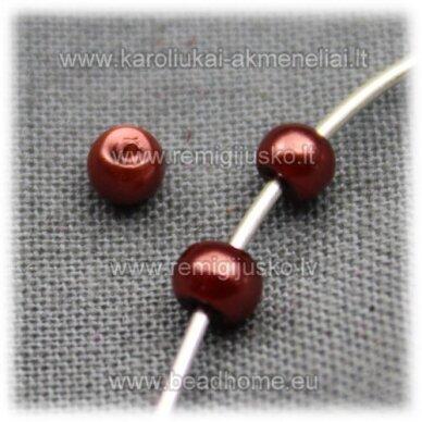 stperl0156-03 apie 3 mm, ruda spalva, stiklinis perliukas, apie 300 vnt.