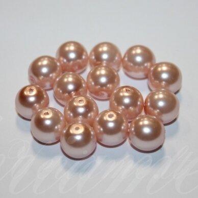 jsstperl0158-10 apie 10 mm, šviesi, rožinė spalva, stiklinis perliukas, apie 85 vnt.
