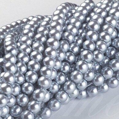 stperl0181-10 apie 10 mm, apvali forma, stiklinis perliukas, sidabrinė spalva, apie 16 vnt.