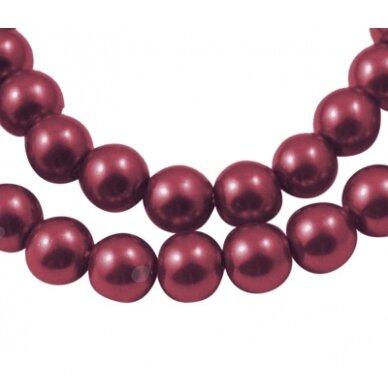 stperl0296-03 apie 3 mm, apvali forma, stiklinis perliukas, bordo spalva, apie 150 vnt.