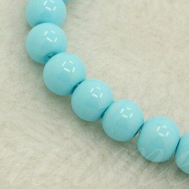 stperl0347-03 apie 3 mm, apvali forma, stiklinis perliukas, žydra spalva, apie 150 vnt.
