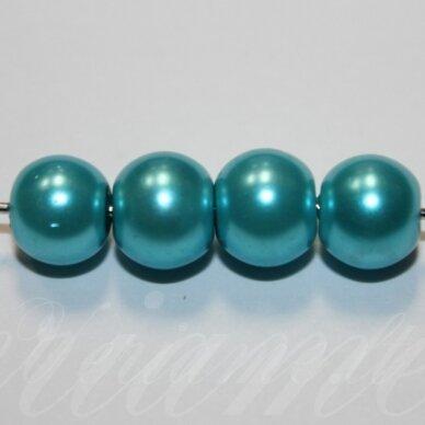 jsstperl0375-08 apie 08 mm, stiklinis perliukas, žydra spalva, apie 100 vnt.