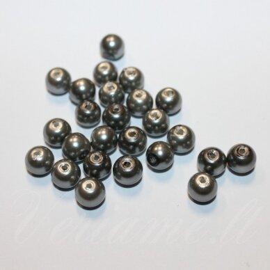 jsstperl0382-08 apie 08 mm, apvali forma, pilka spalva, stiklinis perliukas, apie 100 vnt.