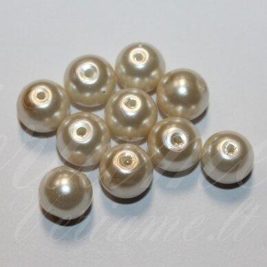 jsstperl0383-12 apie 12 mm, apvali forma, stiklinis perliukas, kreminė spalva, apie 70 vnt. 2