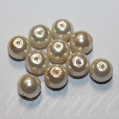 jsstperl0383-10 apie 10 mm, apvali forma, stiklinis perliukas, kreminė spalva, apie 80 vnt.   2
