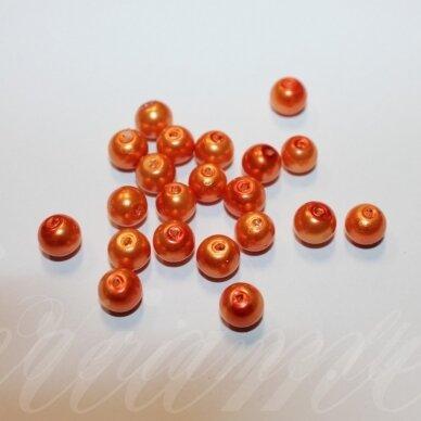 jsstperl0384-08 apie 08 mm, apvali forma, oranžinė spalva, stiklinis perliukas, apie 100 vnt.