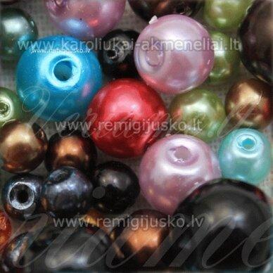 stperlmix1, įvairių formų, įvairių dydžių, įvairių spalvų, stiklinių perliukų mišinys, apie 200 g.