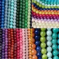 superjskazy-apv-08 about 8 mm, round shape, jade, different 5 strands (about 240 pcs).