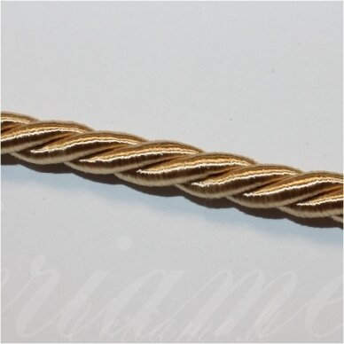 SUPERPPVGEL0165  about 6 mm, light, gold color, twisted cord, 25 m.