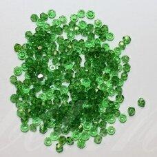 sw0361 about 3 mm, bicone shape , transparent, green color, 10 pcs.