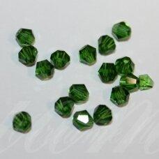 SW0418k apie 4 mm, tamsi, žalia spalva, skaidrus, 10 vnt.