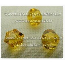 sw0423k apie 4 mm, bicone forma, geltona spalva, 10 vnt.