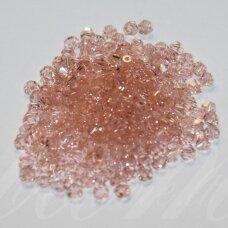 SW0481 apie 4 mm, skaidrus, šviesi rožinė spalva, 10 vnt.