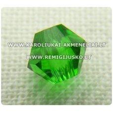 sw0517k apie 5 mm, bicone forma, šviesi, žalia spalva, skaidrus, 10 vnt.