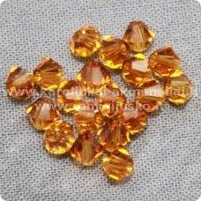 sw0525 apie 5 mm, bicone forma, skaidrus, oranžinė spalva, 10 vnt.