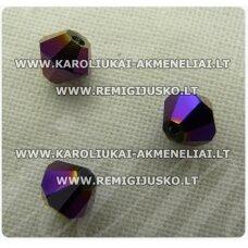 sw0548k apie 5 mm, bicone forma, violetinė spalva, blizgi danga, 10 vnt.
