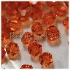 sw0569 apie 5 mm, bicone forma, skaidrus, oranžinė spalva, 10 vnt.