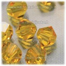 sw0571 apie 5 mm, bicone forma, skaidrus, oranžinis atspalvis, 10 vnt.