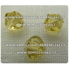 sw0605k apie 6 mm, bicone forma, geltona spalva, 10 vnt.