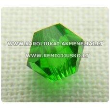 sw0617k apie 6 mm, bicone forma, šviesi, žalia spalva, skaidrus, 10 vnt.