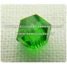 sw0618k apie 6 mm, bicone forma, žalia spalva, skaidrus, 10 vnt.