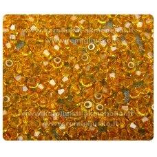 sw0622k apie 6 mm, bicone forma, tamsi, geltona spalva, 10 vnt.