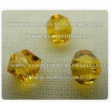 sw0623k apie 6 mm, bicone forma, geltona spalva, 10 vnt.