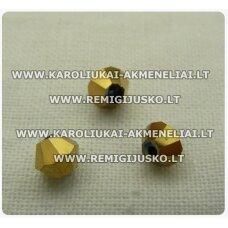sw0630k apie 6 mm, bicone forma, auksinė spalva, 10 vnt.
