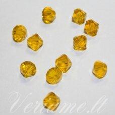 SW0641 apie 6 mm, bicone forma, skaidrus, geltona spalva, 10 vnt.