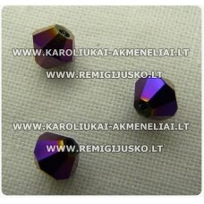 sw0648k apie 6 mm, bicone forma, violetinė spalva, blizgi danga, 10 vnt.