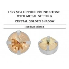 Swarovski 1695 Sea Urchin su detale 14mm Crystal Golden Shadow - Rodžio padengimas (2 vnt)