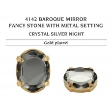 Swarovski 4142 Baroque Mirror su detale 14mm Crystal Silver Night - Aukso padengimas