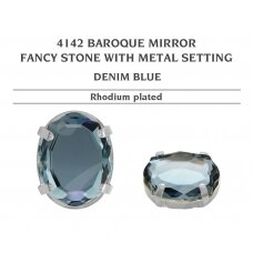 Swarovski 4142 Baroque Mirror su detale 14mm Denim Blue - Rodžio padengimas