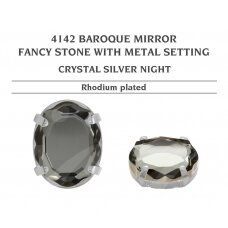 Swarovski 4142 Baroque Mirror su detale 18mm Crystal Silver Night - Rodžio padengimas