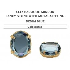 Swarovski 4142 Baroque Mirror su detale 18mm Denim Blue - Aukso padengimas