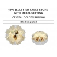 Swarovski 4195 Jelly Fish su detale 14mm Crystal Golden Shadow - Rodžio padengimas