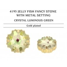 Swarovski 4195 Jelly Fish su detale 14mm Crystal Luminous Green - Aukso padengimas