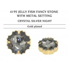 Swarovski 4195 Jelly Fish su detale 14mm Crystal Silver Night - Aukso padengimas