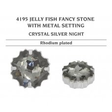 Swarovski 4195 Jelly Fish su detale 14mm Crystal Silver Night - Rodžio padengimas