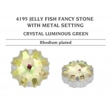 Swarovski 4195 Jelly Fish su detale 22mm Crystal Luminous Green - Rodžio padengimas