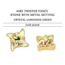Swarovski 4485 Twister with Setting 10.5mm Crystal Luminous Green - Gold plated (2 pcs)